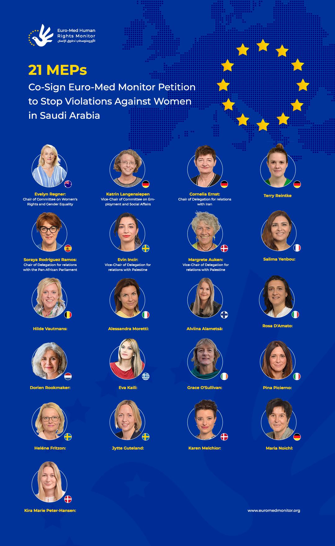 في عريضة للأورومتوسطي.. أكثر من 20 برلمانية أوروبية تطالبن بوقف الانتهاكات ضد النساء في السعودية