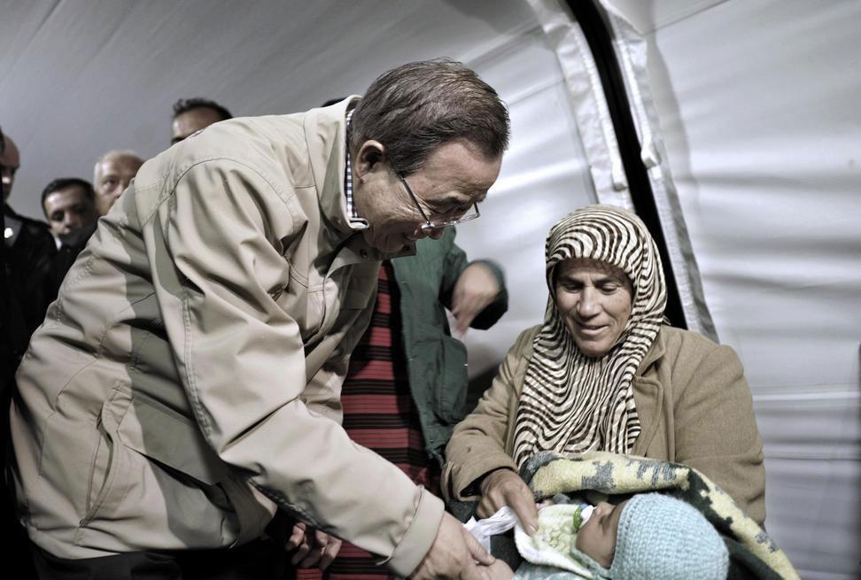 بان كي مون يشيد بالضيافة التركية في استقبال اللاجئين السوريين ويدعو المجتمع الدولي إلى تقديم المساعدات الطارئة